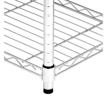 BSCI Factory & NSF Approved 5 Tier Epoxy Coating Heavy Duty Wire Shelf with 5 Inch Castors for Wet Environments Storage
